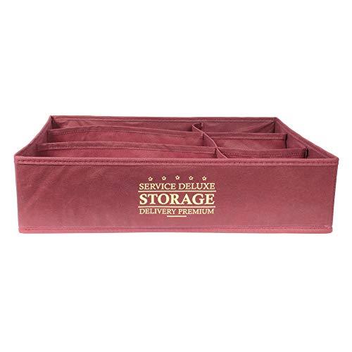 JE CHERCHE UNE IDEE - Rangement Pliable 6 Compartiments Bordeaux - Dimensions : 44 x 34 x 11 cm