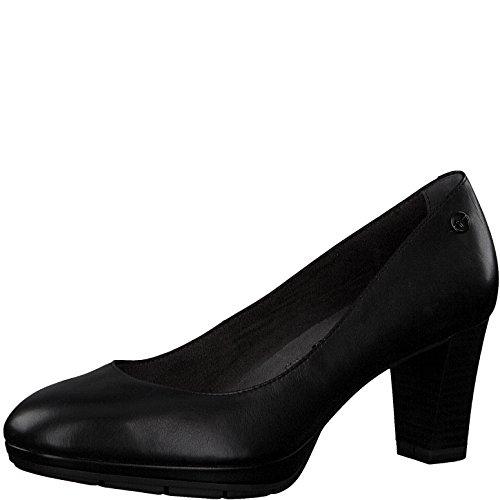 Tamaris Damen Plateaupumps 22438-21,Frauen Plateau-Pumps,Plateau-Sohle,Plateauschuhe,modisch,bequem,Fashion,Blockabsatz 7cm,Black Leather,EU 37