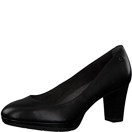 Tamaris Damen Plateaupumps 22438-21,Frauen Plateau-Pumps,Plateau-Sohle,Plateauschuhe,modisch,bequem,Fashion,Blockabsatz 7cm,Black Leather,EU 36
