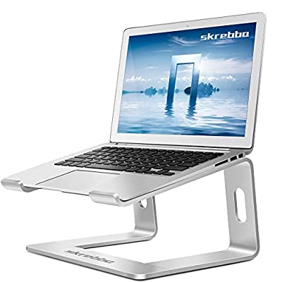 "Skrebba Laptop Stand, Detachable Aluminum Computer Notebook Holder Stand for Desk, Ergonomic Laptop Riser Portable Laptop Elevator Compatible with Apple MacBook Air Pro, Lenovo, HP, Dell (10-17"" ) PC"