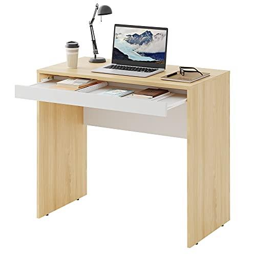 DEVAISE パソコンデスク デスク 机 キーボードスライダー付き 幅85*奥行45*高さ74.5cm コンパクト 木製 組立簡単 在宅勤務 オーク&ホワイト ORASZ601QX