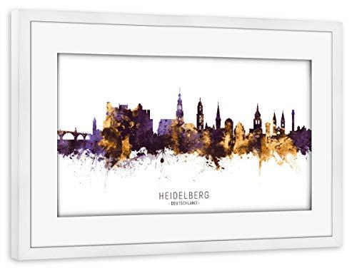 artboxONE Poster mit Rahmen weiß 75x50 cm Heidelberg Skyline PurpleGold von Michael Tompsett - gerahmtes Poster