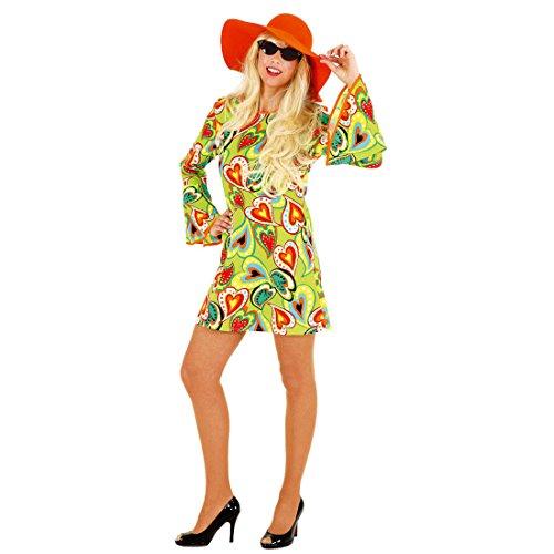 NET TOYS Kurzes Hippie Kleid Love - Flower Power Kostüm Buntes Hippiekleid Damen Hippiekostüm Batik Damenkostüm 70er Jahre
