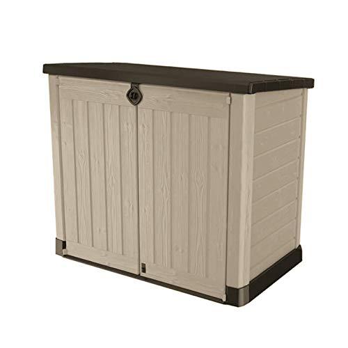 Koll Living Garden Mülltonnenboxen von 848- bis 2020 Liter wählbar - aus Wetter- & UV-festem Kunststoff - mit Gasdruckfedern und Belüftungsystem (Typ 5-1200 Liter - beige/braun)