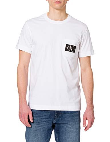 Calvin Klein Jeans Monogram Badge Pocket tee Camiseta, Blanco Brillante, S para Hombre