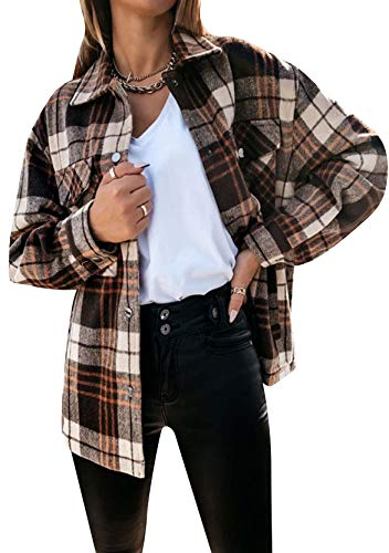 YMING Damen Casual Jacke Flanellhemd Vintage Langarm Holzfällerhemd Button-down Karierte Bluse D-Braun XL