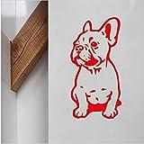 yiyiyaya Bouledogue Français Vinyle Autocollant Mural Beau Chien Stickers pour La Maison Lilving Pièce/Décoration De La Voiture Animaux Art Mural Décor À La Maison Rouge 56x28cm