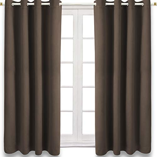 CAMPIR Blackout Curtains,Thermal Curtains,Room Darkening Grommet Blackout Curtains for Living Room Curtains , Support Window ,Closet and Bedroom,Set of 2 Panels (Light Coffee, 52x63)