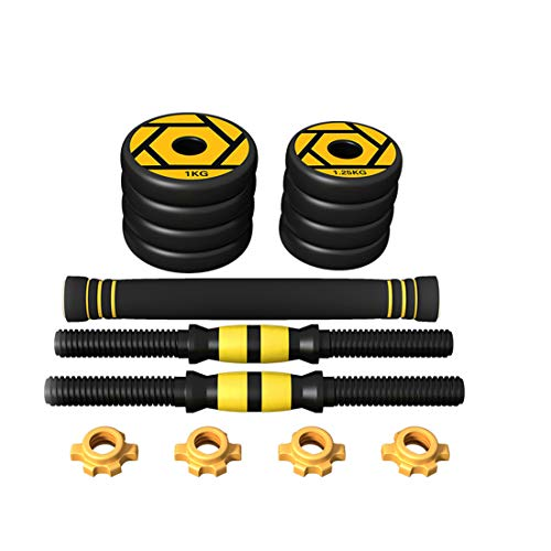 Price comparison product image LLC-POWER Fitness Dumbbell Set,  Adjustable Weight for Every Type Training,  with Connecting Rod Can Be Used As Barbell,  5KG / 11Lbs (Pair),  for Body Workout Home Gym