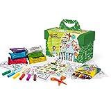BricoLoco Kit maletín de Manualidades Infantil para niños y niñas. Maletín con plastilina, Ceras, rotuladores, Pegatinas, Tijeras.