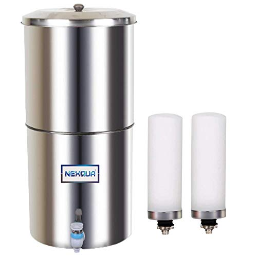 NEXQUA Dew Stainlness Steel Non-electric Gravity Water Filter and Purifier With 18 Litre (9+9 Litre Combined) Storage, Includes 2 Ceramic Cartridges and Plastic Tap (Steel Gravity)