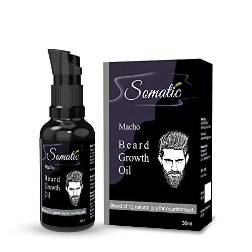 Somatic Macho Beard Growth Oil, 100% Natural- 12 Oils, For Healthy & Thicker Beard Growth, Vitamin E, Made In India, 30 ML