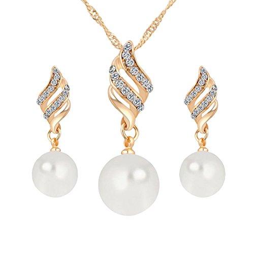 msyou 3piezas/juego de joyas set Smart Pearl Ohrstecker Juego Halskette Ohrringe joyas adornos para hochzeitsbankett Party 45+5cm dorado