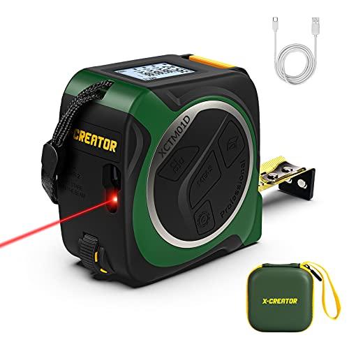 Misura di Nastro Laser 3 in 1,X-CREATOR Misuratore di Distanza Laser Digitale con Misurazione delle ruote,40m Metro laser,5m Metro a Nastro,Display LCD retroilluminato HD,Ricaricabile di tipo C