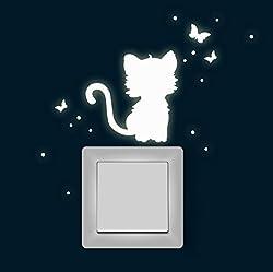 Lichtschalter Leuchtsticker Katze Schmetterlinge fluoreszierend