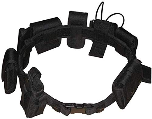 Black Law Enforcement Modular Equipment System Security Military Tactical Duty Utility Belt (10 in 1, Adjustable 35-45 inches, Black)