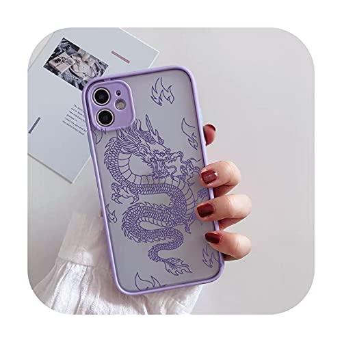 FightLY Moda Dragon Animal Pattern teléfono caso para iPhone 12 11 Pro XS MAX X 7 XR SE20 8 6Plus duro transparente cubierta mate bolsa estilo 2-para iphone 7 8 Plus