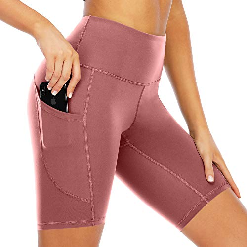 Scicent Tights High Waist Yogahose Leggings Damen Shorts Sporthose Yoga Leggins Rosa mit Taschen L