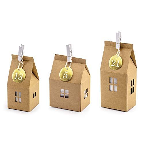 Natürlich verpacken Adventskalender Set aus 24 Kraftkarton Häuschen,Nummern, Klammern und Baumwollkordel