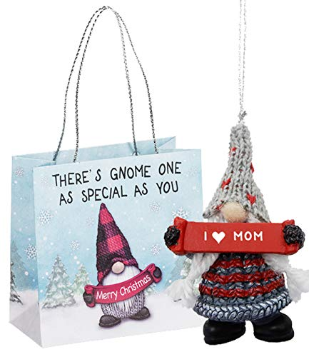 Ganz U.S.A., LLC I Heart Mom Holiday Gnome Ornaments 2 Sided for Holiday Christmas Tree Decor Mother Gifts from Kids Presented in a Holiday Bag with a Festive Gnome and Poem