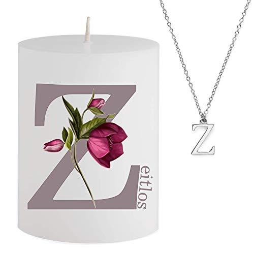 Spell Schmuck - Vela con Mensaje – Z eitlos – Collar Plateado Escondido con Letra Z – Vela aromática de Cerezo