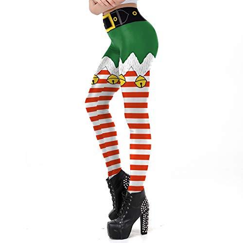 QKURT Leggings navideños feos de mujer, medias de disfraces divertidas de pintura de Navidad