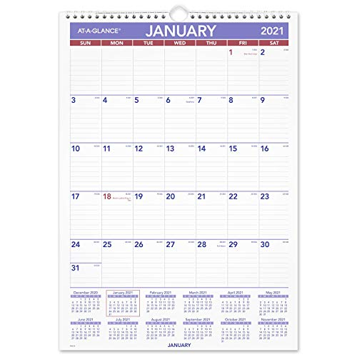 2021 Wall Calendar by AT-A-GLANCE, 12' x 17', Medium, Monthly. Wirebound (PM22821)