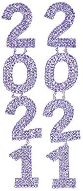 2021 Iced Out Rhinestone Long Drop Earring Crystal Letter Dangle Earings Statement Number 2021 product image