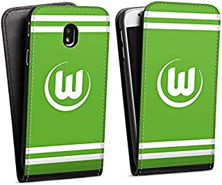 DeinDesign Flip Case kompatibel mit Samsung Galaxy J7 Duos 2017 Tasche Hülle VFL Wolfsburg Offizielles Lizenzprodukt Wappen