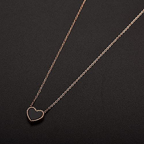 JIAQINGRNM Collares Tous Love Peach Heart Colgante Collar de Acero de Titanio Collar DeClavícula de Acero Inoxidable Femenino de Concha Media Regalo de San Valentin Navidad
