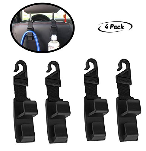 lebogner 4 Pack Car Seat Headrest Hooks Strong and Durable Backseat Headrest Hanger Storage for Handbags, Purses, Coats, and Grocery Bags, Universal Vehicle Car Seat Back Headrest Bottle Holder
