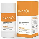 MAGSOL Magnesium Deodorant for Women and Men - 100% Natural Deodorant - Clean Label Only 4 Ingredients - Perfect for Ultra Sensitive Skin - Large 3.2 oz Lasts over 4 Months (Sweet Orange)