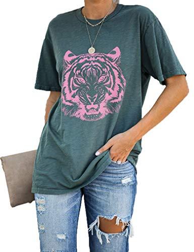 Women's Graphic Tees, Short Sleeve Crewneck Cute T-Shirts, Printed Cotton Summer Tops