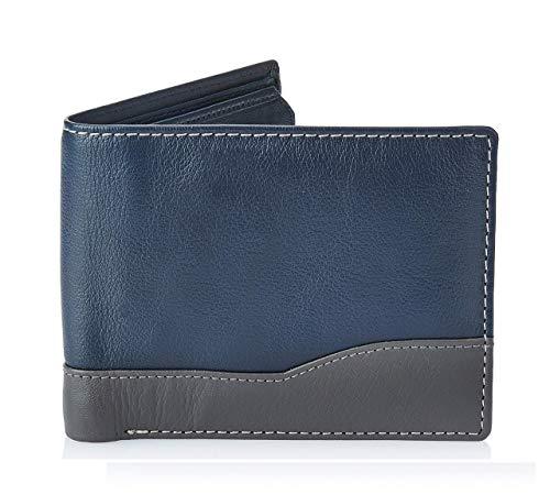 Amazon Brand - Solimo Men's Genuine Leather Wallet, RFID Blocking, Blue & Grey