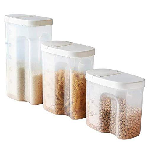 Almacenamiento de 3 piezas de cocina hermético de envases de comida de cereales Dispensador Snacks alimento azúcar frasco sellado Papeleras Organizador despensa ahorro de espacio Botes WYSY