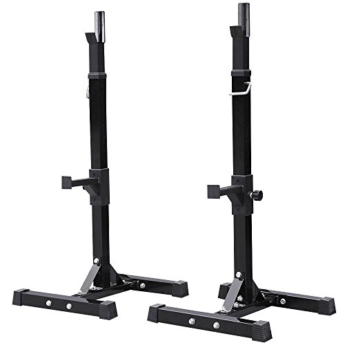 Yaheetech Adjustable Heavy Duty Squat Rack Stand Power Weight Bench Support for Curl Barbell Olympic Barbell Free-Press Bench Black