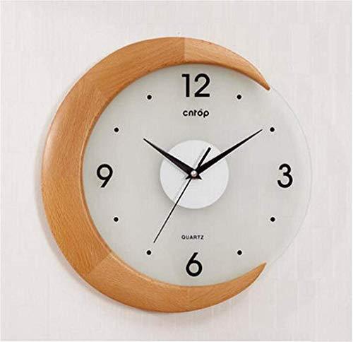 Wanduhr / 12 Zoll Wanduhr/Pastoral Wanduhr/Buche Uhren/Moderne Wohnzimmeruhr/kreative Art-Deco-Uhr/Mode große Taschenuhr/Wanduhr (Farbe: gelb)