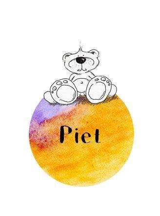 zAcheR-fineT-design Supersüßes Bild mit Teddy für das Kinderzimmer - INDIVIDUELL MIT Namen - Kinderzimmerbild - Wandbild - Kinderposter auf Strukturiertem Künstlerpapier A4