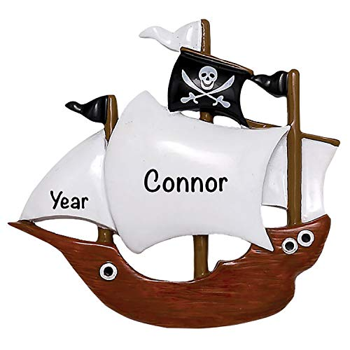 Pirate Ship Personalized Ornament - Unique Christmas Tree Ornament - Special Keepsake - Custom Kids and Teen Decoration - Personalization Included