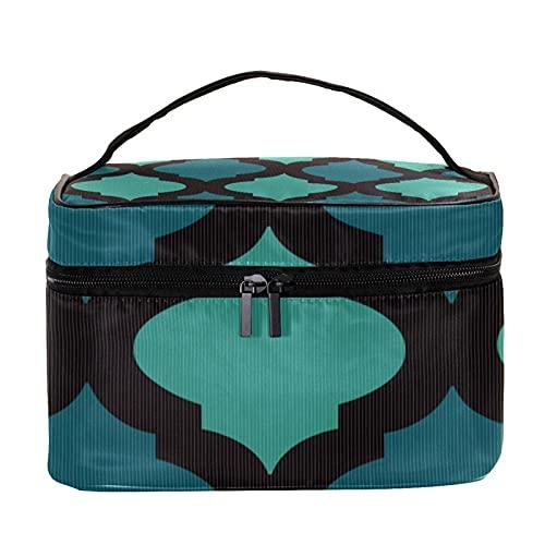 Bolsa de maquillaje de viaje estilo árabe con tono azul, bolsa de maquillaje grande, organizador con cremallera, para mujeres y niñas