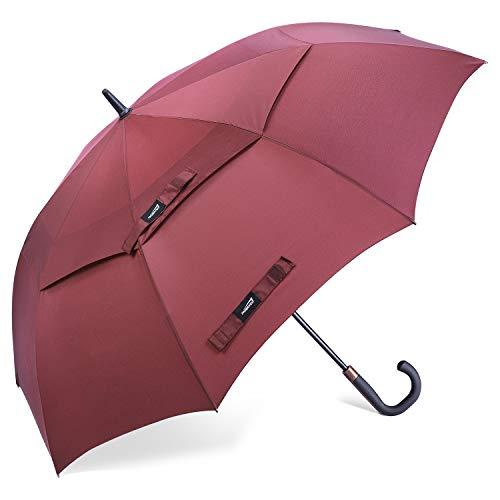 Promover - Ombrello da golf classico grande, antivento, apertura automatica, doppio baldacchino ventilato con manico in legno, 157,50 cm