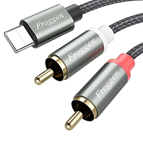 Froggen Cable RCA a Jack Lightening, Cable RCA Audio Estéreo Algodón Trenzado, Conectores Jack Lightening Macho a 2RCA Compatible con Altavoces, Amplificador, TV, Barra de Sonido, Móvil