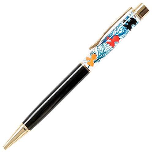 花まりか ハーバリウム ボールペン 金魚のハーバリウムボールペン ギフト プレゼント (ブルー(ブラック軸))