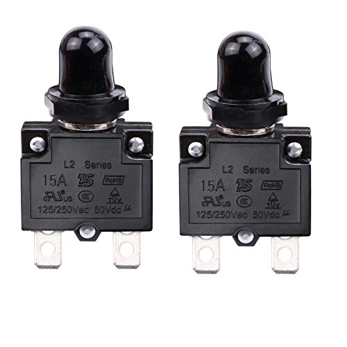 RKURCK 15 Amps Push Button Circuit Breakers, AC 125/250V DC 50V Thermal Overload Protector with Quick Connect Terminals and Waterproof Button Black Cap, Manual Reset Thermal Circuit Breaker 15A(2 Pcs)