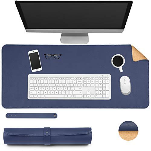 Walant Alfombrilla de escritorio, 70 x 30 cm, corcho natural y piel sintética, impermeable, de doble cara, antideslizante, para oficina, juegos en casa