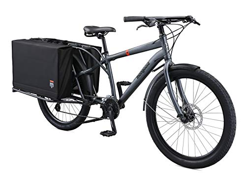 Mongoose Envoy Cargo Bike with 26-Inch Wheels in Grey, Medium/Large Frame, with 8-Speeds, Shimano Drivetrain, Aluminum Cargo Frame, Internal Cable Routing, Mechanical Disc Brakes, and Center Kickstand