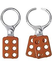 Master Lock Aldaba de consignación de aluminio 417, Rojo/Plata