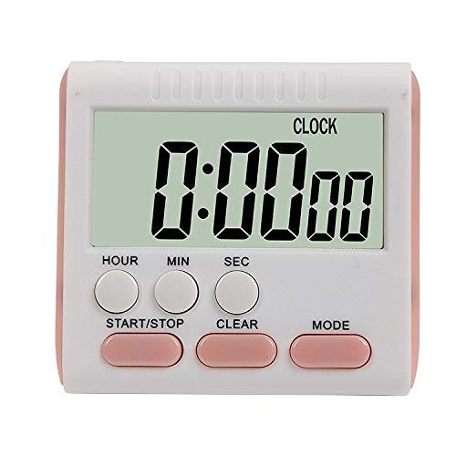 XGQ Kitchen Timer 24 Horas Reloj Despertador Digital Pantalla LCD Soporte magnético for cocinar Hornear (Negro) (Color : Pink)