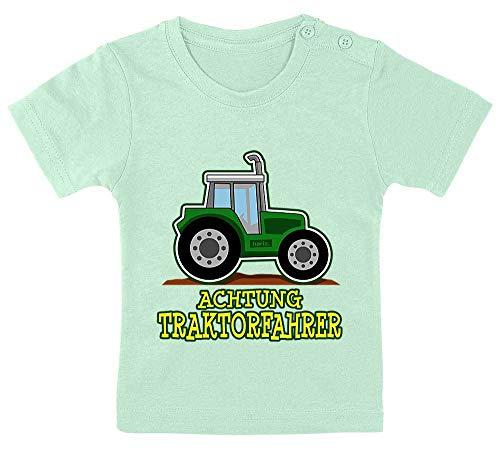 HARIZ Baby T-Shirt Achtung Traktorfahrer Bagger Eisenbahn Inkl. Geschenk Karte Zahnpasta Grün 9-15 Monate / 70-79cm