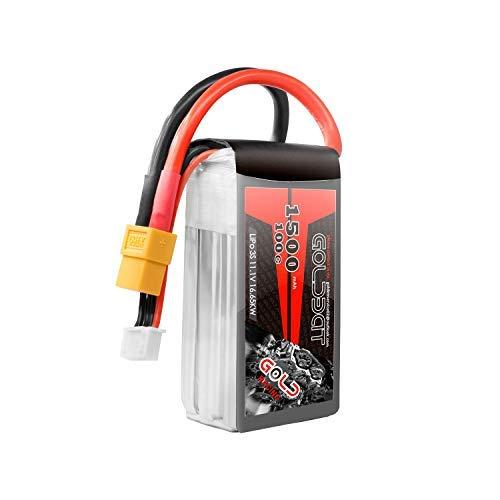 GOLDBAT 3S 11.1V 1500mAh 100C Softcase Lipo Rechargeable Battery with XT60 Plug for RC Car, Skylark m4-fpv250, Mini Shredder 200, Qav250, Vortex, Airplane Helicopter Drone and FPV (1 Pack)